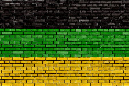 flag of African National Congress painted on brick wall