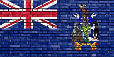 king edward: flag of South Georgia and the South Sandwich Islands painted on brick wall