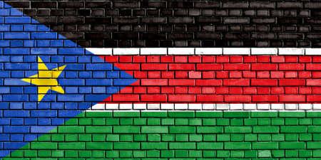 south sudan: flag of South Sudan painted on brick wall Stock Photo