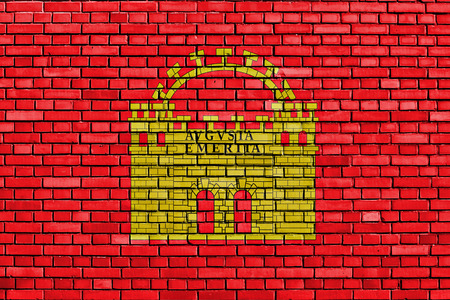 merida: flag of Merida painted on brick wall