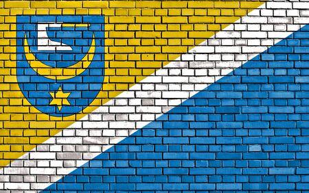 flag of Zabno painted on brick wall