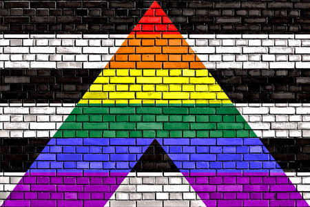 sex discrimination: Straight Ally flag painted on brick wall