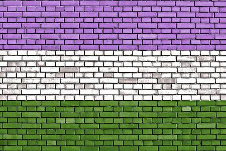 sex discrimination: Genderqueer pride flag painted on brick wall