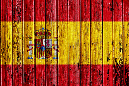 flag of Spain painted on wooden frame 스톡 콘텐츠
