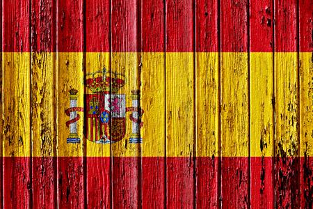 flag of Spain painted on wooden frame Foto de archivo