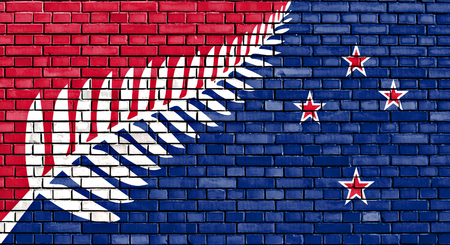 proposed: proposed flag of New Zealand painted on brick wall