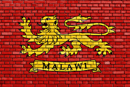 malawi flag: Presidential Standard of Malawi flag painted on brick wall Stock Photo