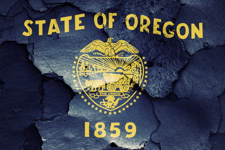 earthquake crack: flag of Oregon painted on cracked wall