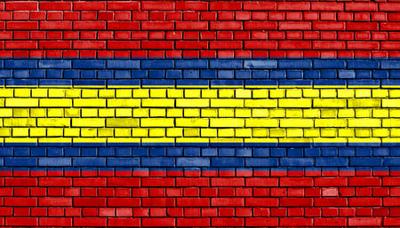 loja: flag of Loja painted on brick wall