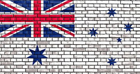 chorąży: The Australian White Ensign flag painted on brick wall