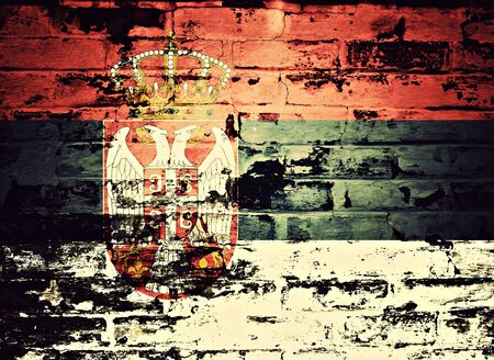 serbia: flag of Serbia painted on brick wall Stock Photo