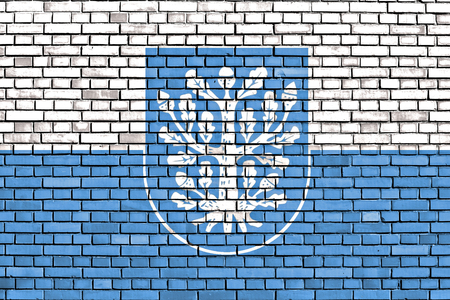 flag of Offenbach am Main painted on brick wall Stock Photo