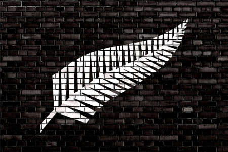 silver fern: flag of Silver fern painted on brick wall