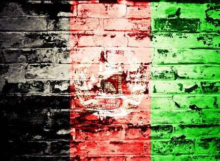 afghan flag: flag of Afghanistan painted on brick wall