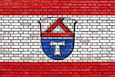 flag of Giessen painted on brick wall