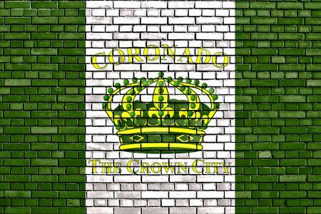 flag of Coronado painted on brick wall