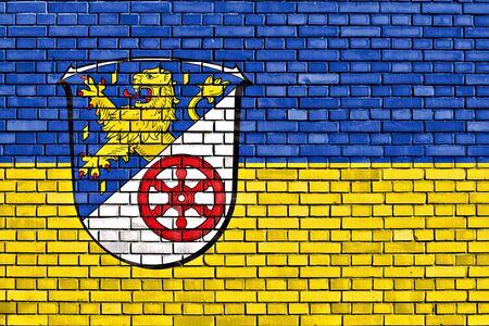 flag of Rheingau-Taunus-Kreis painted on brick wall Stock Photo