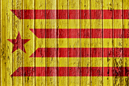 separatist: flag of Catalan separatist movement painted on wooden frame