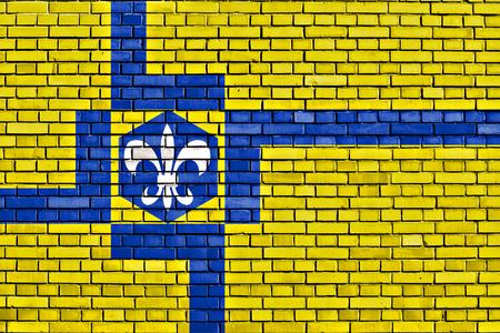 lelystad: flag of Lelystad painted on brick wall Stock Photo