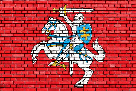 flag of Lithuania state painted on brick wall Stock Photo