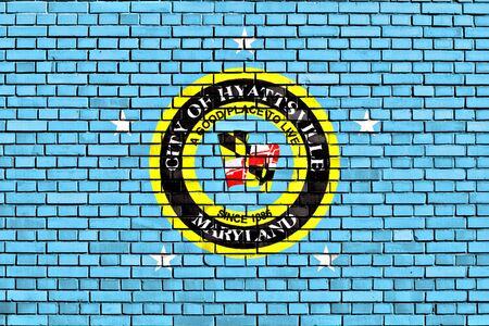 flag of Hyattsville painted on brick wall