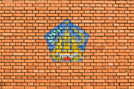 bali province: flag of Bali painted on brick wall Stock Photo