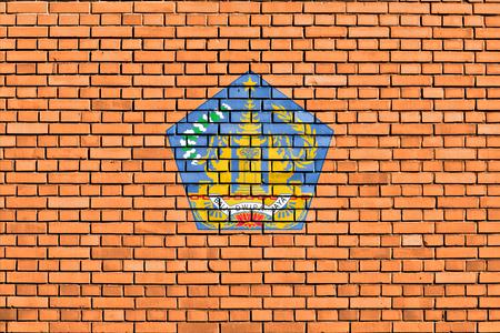 bali province: flag of Bali painted on brick wall Stock Photo