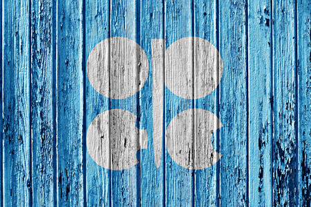opec: flag of OPEC painted on wooden frame Stock Photo