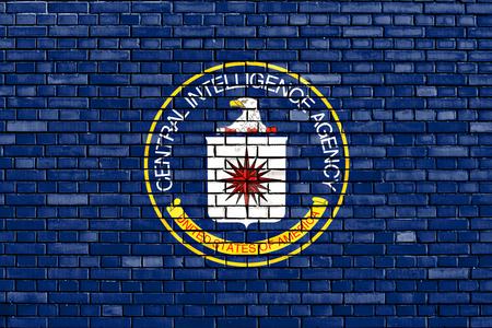 レンガの壁に描かれた CIA の旗