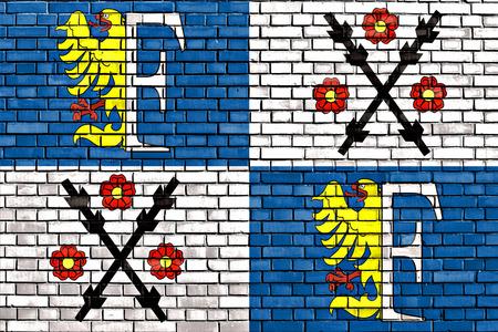 レンガの壁に描かれたフリーデク ・ ミーステクの旗