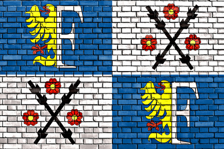 flag of Frydek-Mistek painted on brick wall