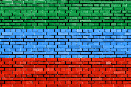 dagestan: flag of Dagestan painted on brick wall