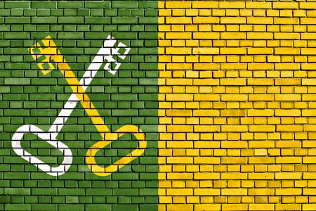 flag of Toa Baja painted on brick wall