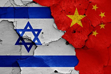 israel war: flags of Israel and China painted on cracked wall