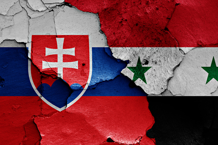 terrorism crisis: flags of Slovakia and Syria painted on cracked wall