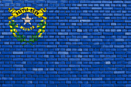 flag of Nevada painted on brick wall 免版税图像