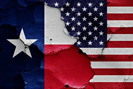 flags of Texas and USA painted on cracked wall 免版税图像 - 54296953