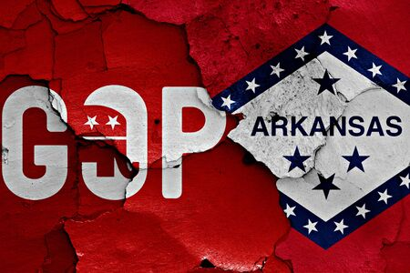 republican party: flag of GOP and Arkansas painted on cracked wall