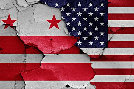 district of columbia: flags of District of Columbia and USA painted on cracked wall