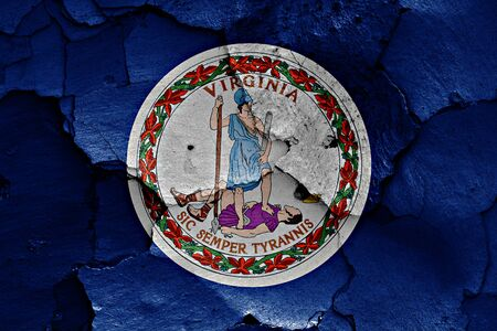 flag of Virginia painted on cracked wall