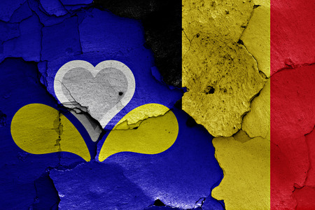 flag of Brussels painted on cracked wall Stock Photo