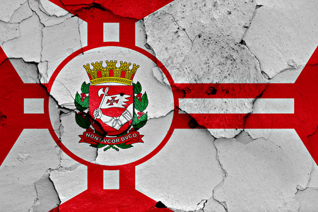 flag of Sao Paulo painted on cracked wall