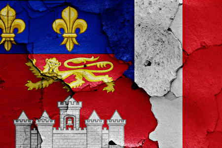 flags of Bordeaux and France painted on cracked wall Stock Photo