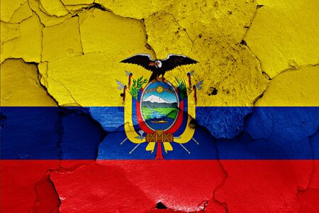 earthquake crack: flag of Ecuador painted on cracked wall Stock Photo