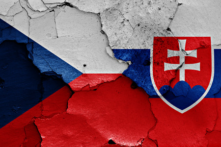 flags of Czech Republic and Slovakia painted on cracked wall
