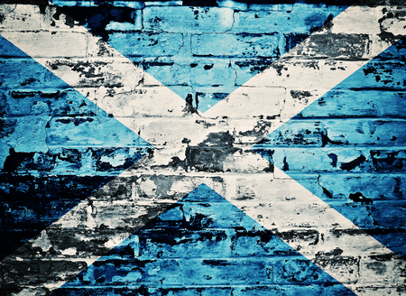 flag of Scotland painted on old brick wall Stock Photo