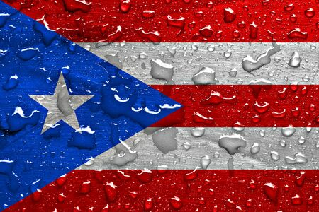 Flag of Puerto Rico with rain drops Фото со стока