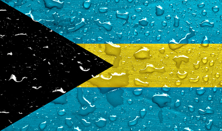 Flag of Bahamas with rain drops Banque d'images