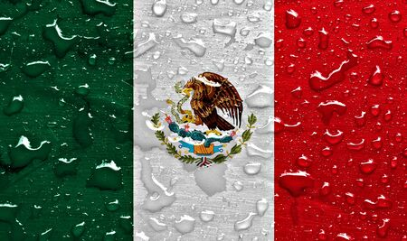 Flag of Mexico with rain drops Stock Photo
