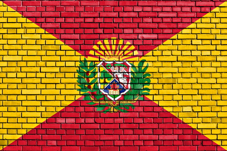 flag of Aragua State painted on brick wall